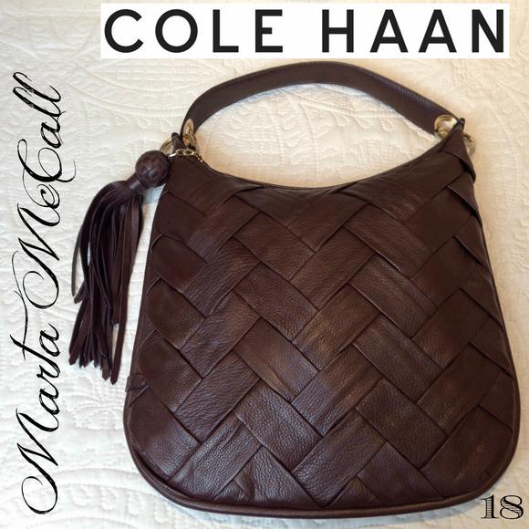 Cole Haan Handbags - NWOT Cole Haan Lg Woven Leather Dark Brown Handbag